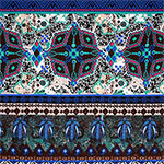 Teal Royal Kaleidoscope Ethnic Cotton Spandex Blend Knit Fabric