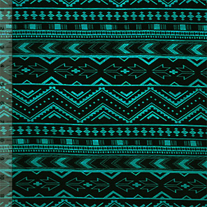 Teal Green Black Ethnic Arrows Cotton Spandex Blend Knit Fabric