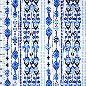 Blue Vertical Ikat Rows Cotton Spandex Blend Knit Fabric