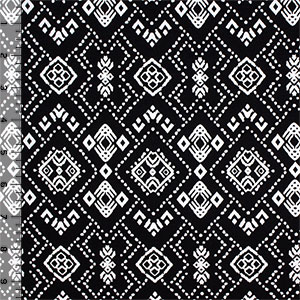 Black White Dotty Symbols Cotton Spandex Blend Knit Fabric
