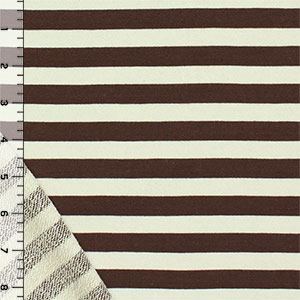 Chocolate Cream Half Inch Stripe Cotton French Terry Knit Fabric