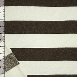 Dark Brown Natural White Wide Stripe Cotton French Terry Knit Fabric
