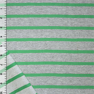 Small Meadow Green Heather Gray Stripe Cotton French Terry Knit Fabric