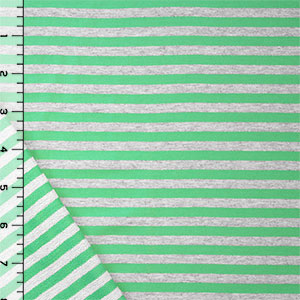 Meadow Green Heather Gray Small Stripe Cotton French Terry Knit Fabric