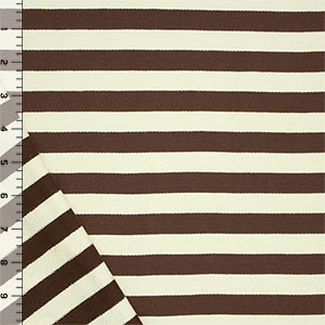 Chocolate Cream Medium Stripe Cotton French Terry Knit Fabric