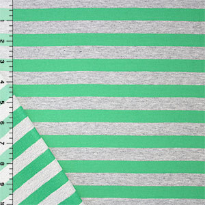 Meadow Green Heather Gray Medium Stripe Cotton French Terry Knit Fabric