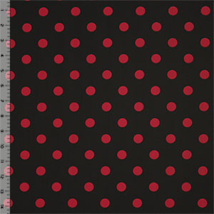 Half Yard Retro Red Dots on Black Nylon Spandex Knit Fabric
