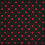 Retro Red Dots on Black Nylon Spandex Knit Fabric