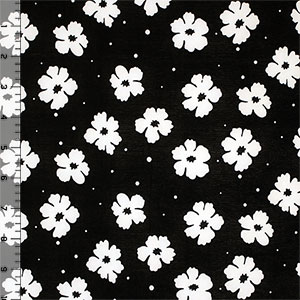 White Floral Dot on Black Single Spandex Knit Fabric