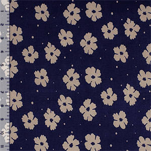 Taupe Floral Dot on Navy Blue Single Spandex Knit Fabric