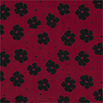 Black Floral Dot on Red Single Spandex Knit Fabric