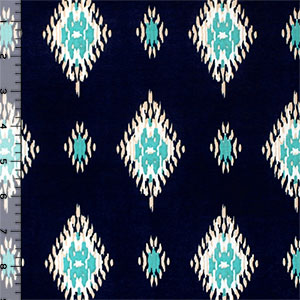 Teal Nude Ethnic Diamonds on Navy Blue Single Spandex Knit Fabric