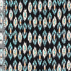 Turquoise Orange Navajo Ethnic Single Spandex Knit Fabric