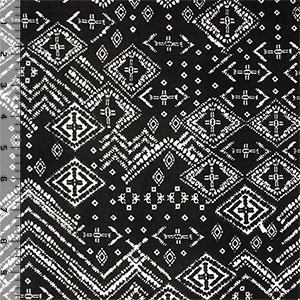 Vintage Diamond Ethnic on Black Single Spandex Knit Fabric