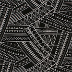 Gray Big Aztec Collage on Black Single Spandex Knit Fabric