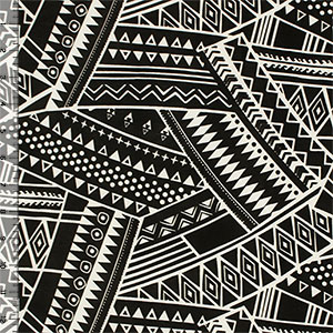 White Big Aztec Collage on Black Single Spandex Knit Fabric