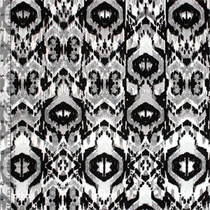 Black Gray Ikat Single Spandex Knit Fabric