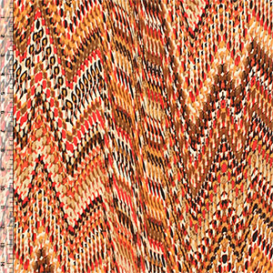 Orange Red Faux Snakeskin Ethnic Single Spandex Knit Fabric