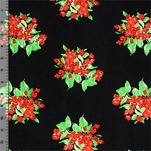 Red Green Floral Bouquets on Black Single Spandex Knit Fabric