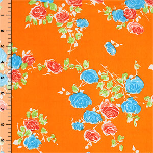 Blue Pink Roses on Orange Single Spandex Knit Fabric