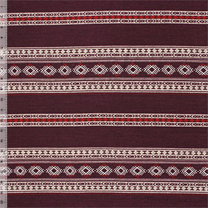 Burgundy Red Navajo Blanket Stripe Hacci Sweater Knit Fabric