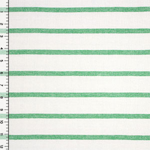 Half Yard Natural White and Green Small Stripe Hacci Sweater Knit Fabric