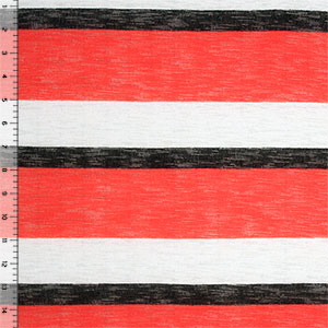 Half Yard Black Red Wide Multi Stripe Hacci Knit Fabric