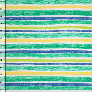 Jade Yellow Blue Painted Cabana Stripe Hacci Knit Fabric