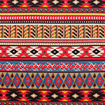 Blue Red Ethnic Diamond Rows Ponte De Roma Knit Fabric