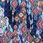 Blue Red Ikat on White Ponte De Roma Knit Fabric