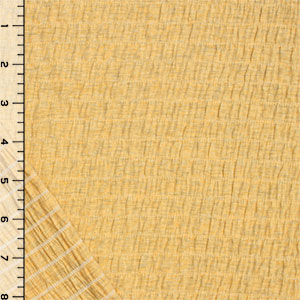 Heather Gray Yellow Cotton Jersey Pucker Knit Fabric