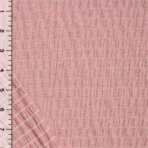 Heather Gray Pink Solid Cotton Jersey Pucker Knit Fabric
