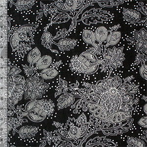 Gray Botanical Floral on Black Onion Skin Knit Fabric
