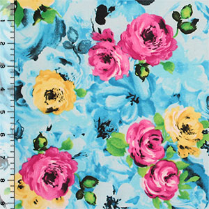 Pink Yellow Roses on Blue Ponte de Roma Knit Fabric