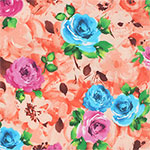 Magenta Blue Roses on Peach Ponte de Roma Knit Fabric