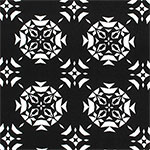White Triangle Emblems on Black Ponte de Roma Knit Fabric