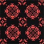 Coral Triangle Emblems on Black Ponte de Roma Knit Fabric