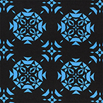 Blue Triangle Emblems on Black Ponte de Roma Knit Fabric