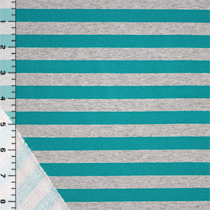 Teal Heather Gray Stripe Cotton Jersey Sweatshirt Fleece Knit Fabric