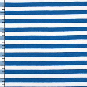 Half Yard KnitFix Blue White Stripe Cotton Spandex Blend Knit Fabric