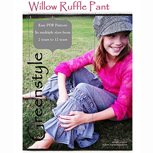 Greenstyle Girls\' Willow Ruffle Pants Sizes 2 to 12 Sewing Pattern