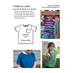 Bryanna\'s Clothes Children\'s T-Shirt Sewing Pattern