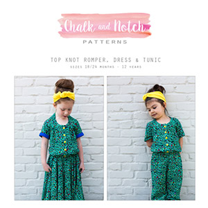 Chalk and Notch Top Knot Romper, Dress, and Tunic Sewing Pattern