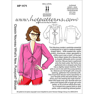 Hot Patterns What\'s New Pussycat Blouse Sewing Pattern
