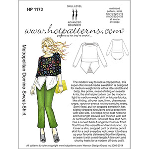 Hot Patterns Metropolitan Domino Sweat-Shirt Sewing Pattern