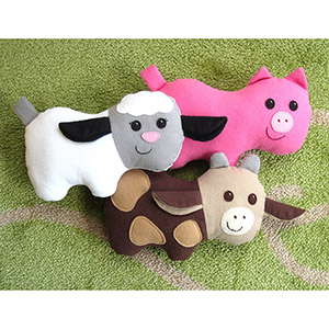 My Funny Buddy Pig, Cow, and Lamb Sewing Pattern