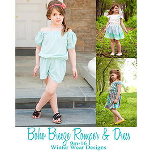 Winter Wear Designs Boho Breeze Romper and Dress for Girls Sewing Pattern
