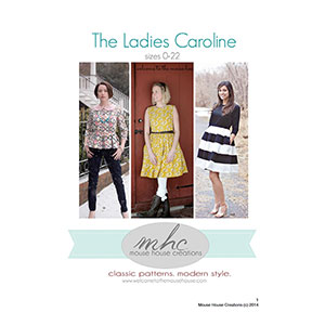 Mouse House Creations The Ladies Caroline Party Dress Peplum Sewing Pattern