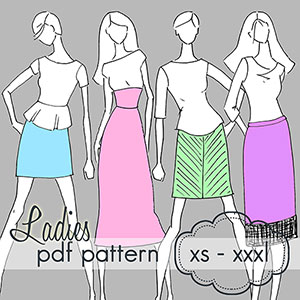 Jocole Ladies Yoga Pencil Skirt Sewing Pattern