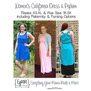 EYMM Women\'s California Dress & Peplum Sewing Pattern